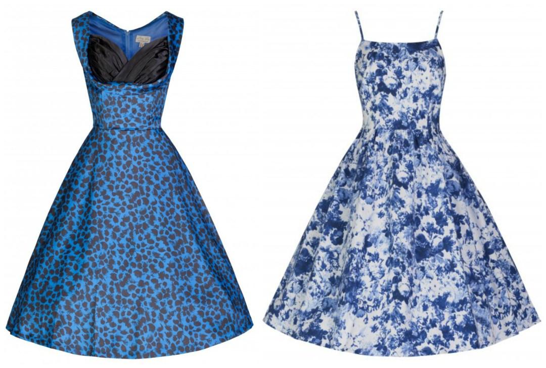 Lindy Bop Sale Marlene Blue Floral Dress