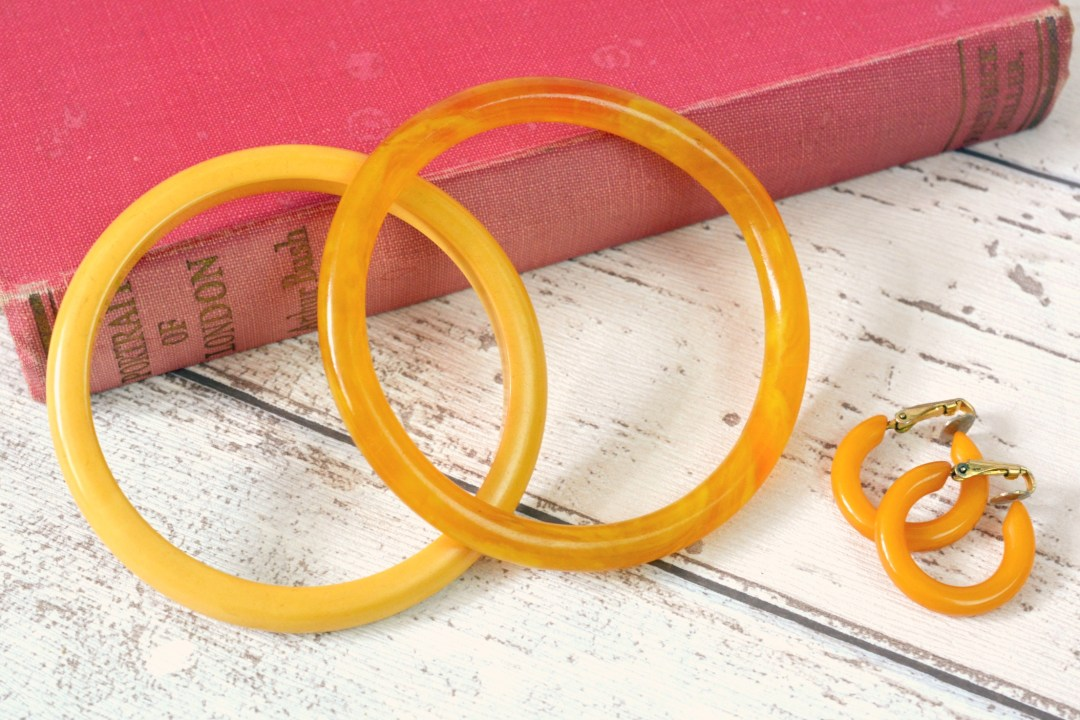 Bakelite Bangles and Hoop Earrings