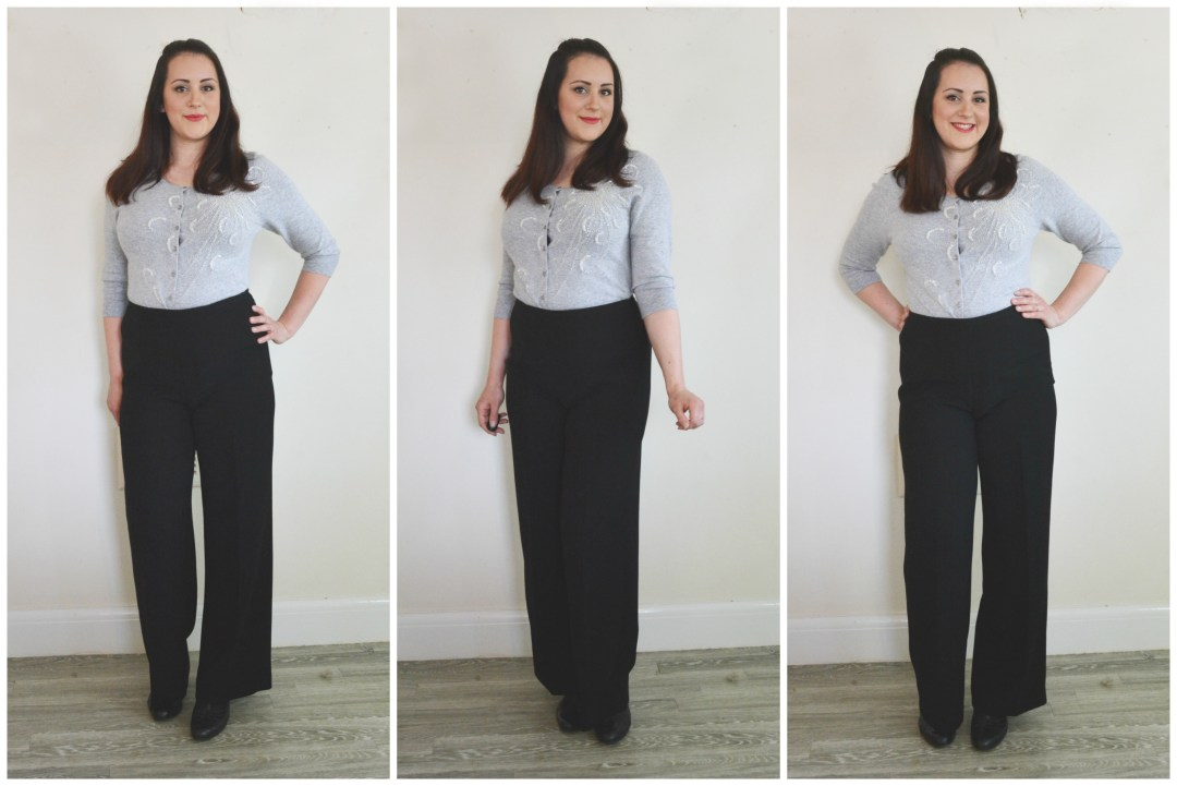 Charity Shop Black Trousers Grey Cardi