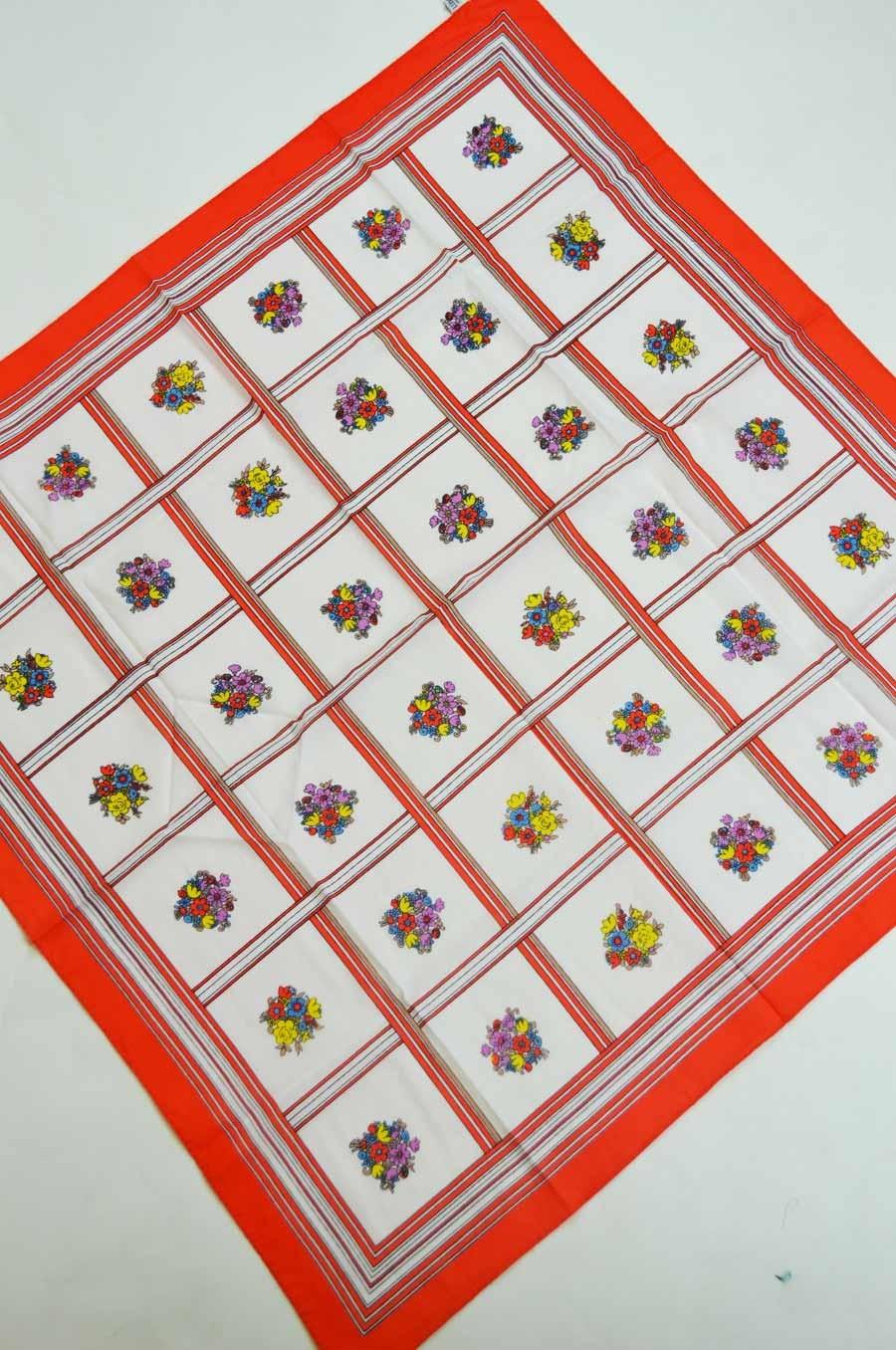 vintage-scarf-liberty-orange-ivory-stripes-floral-squares-front