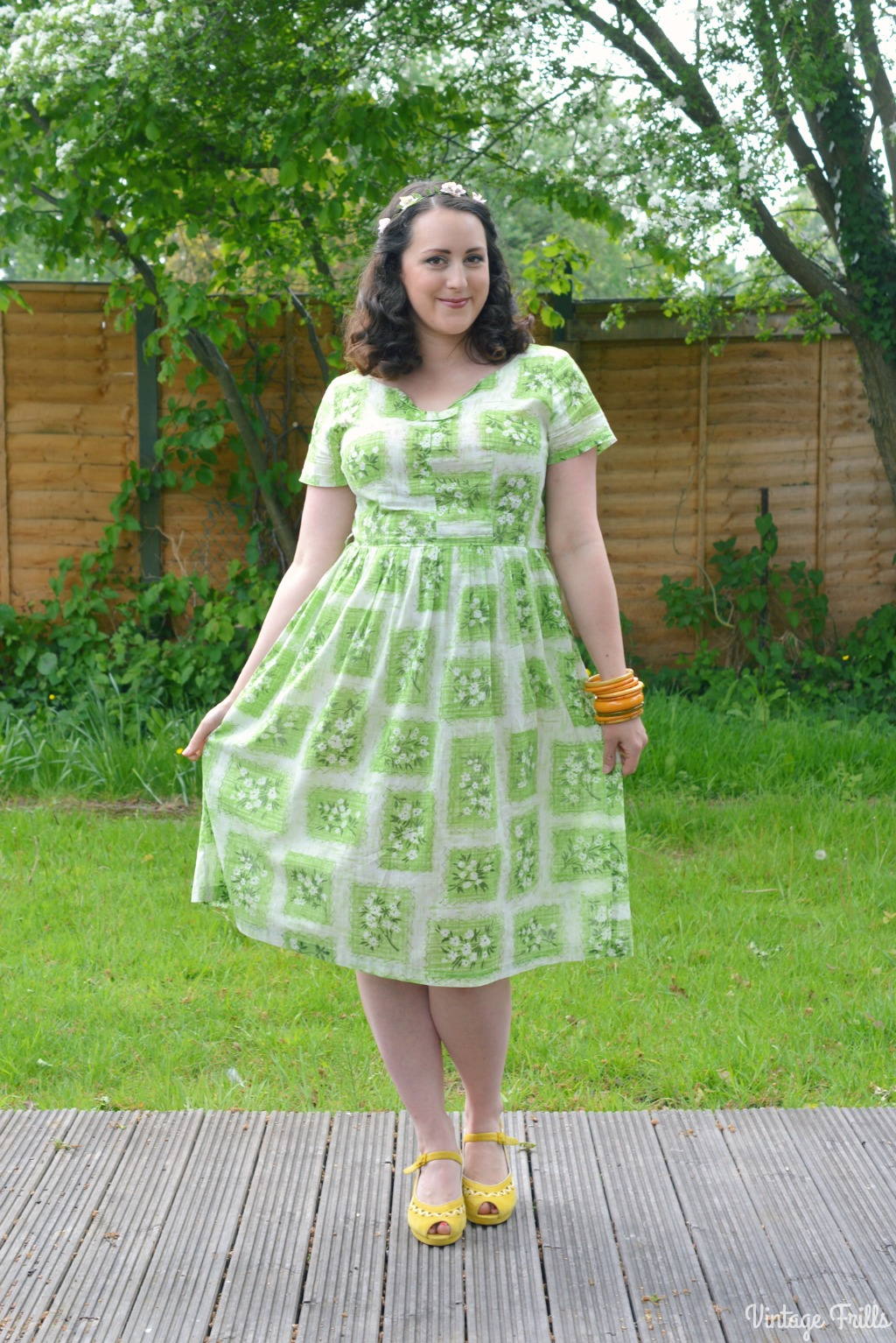 Vintage Favourites – Green 1950s Cotton Dress #OOTD