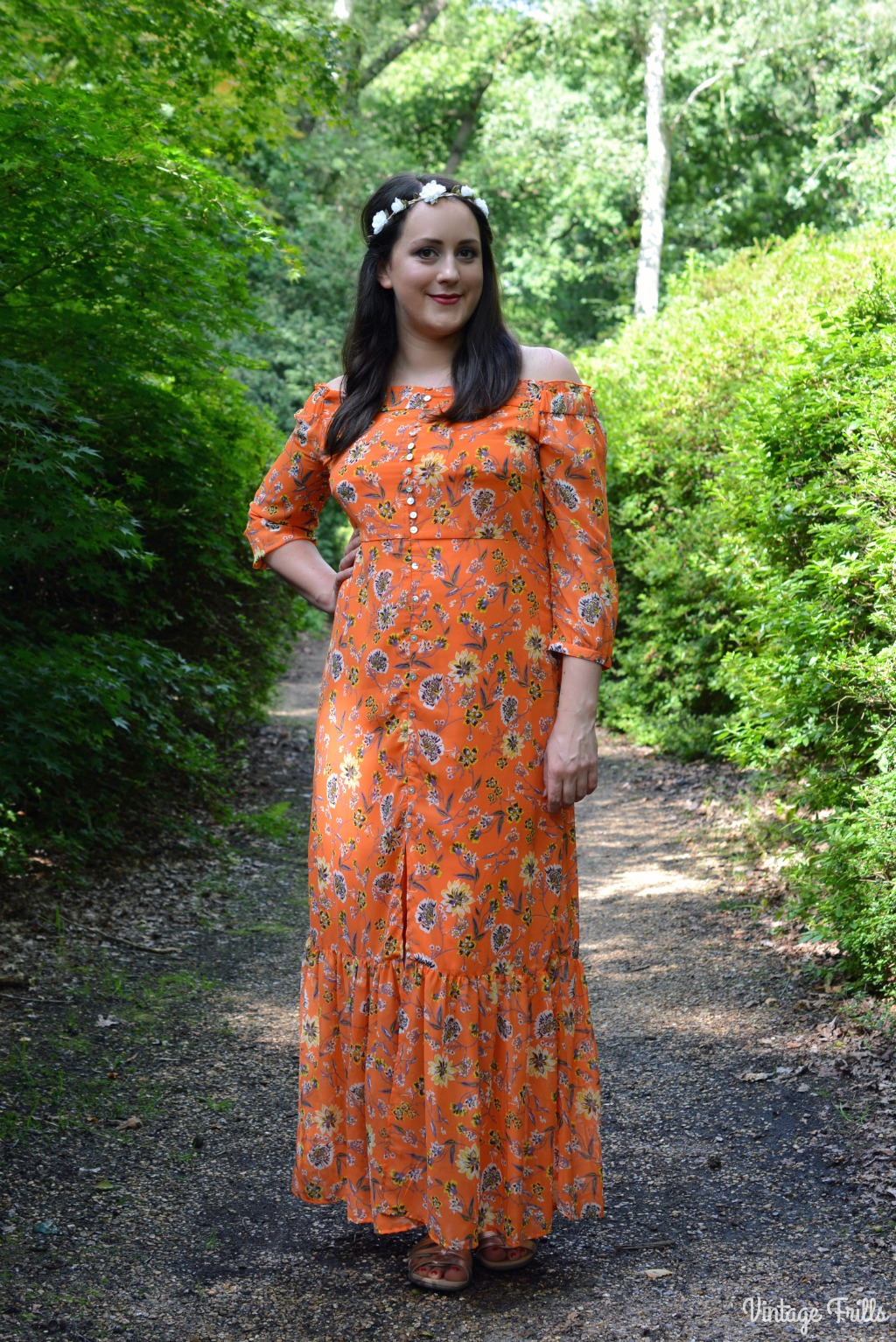 Retro 1970s Inspired Orange Maxi Dress from Peacocks. High Street.