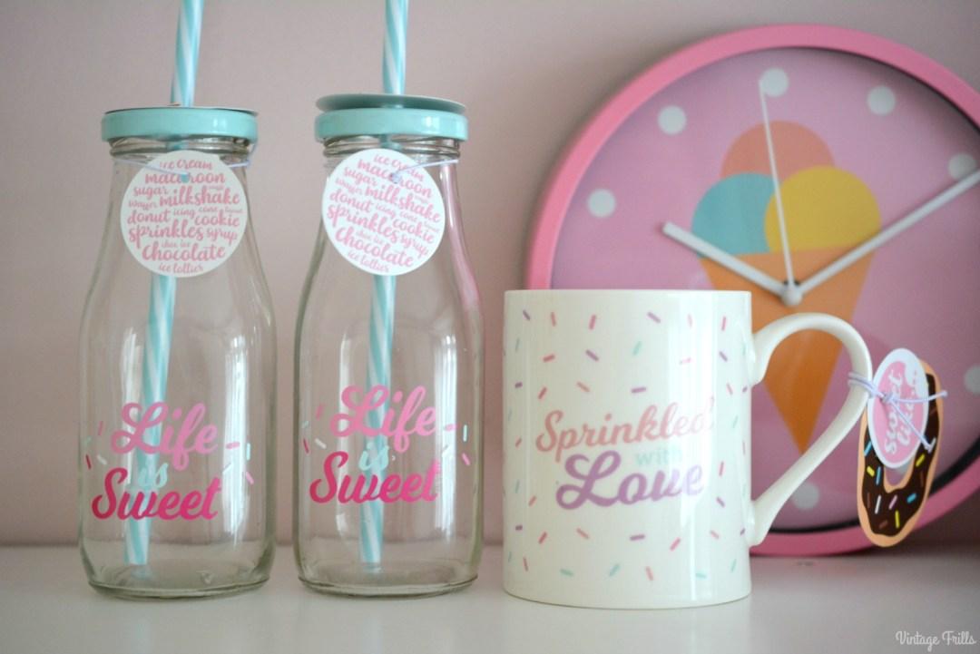 Ice Cream Theme | Home Bargains Mugs and Milk Bottles