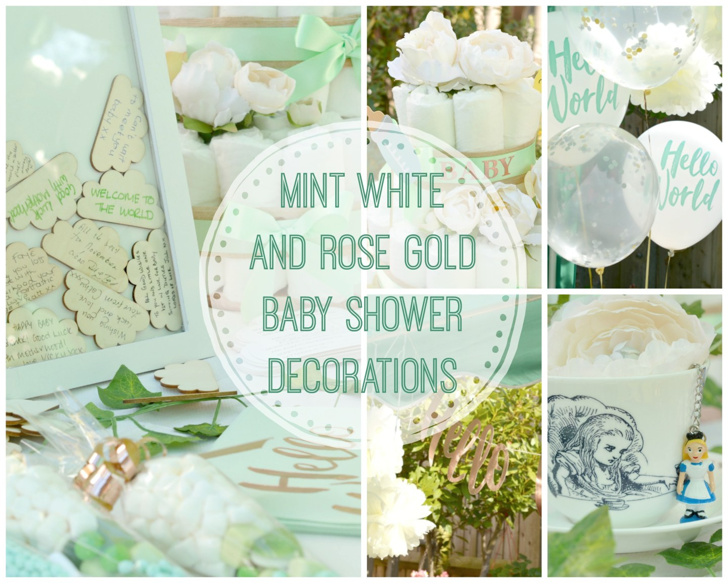 BABY SHOWER – Mint, White and Rose Gold Themed Decorations