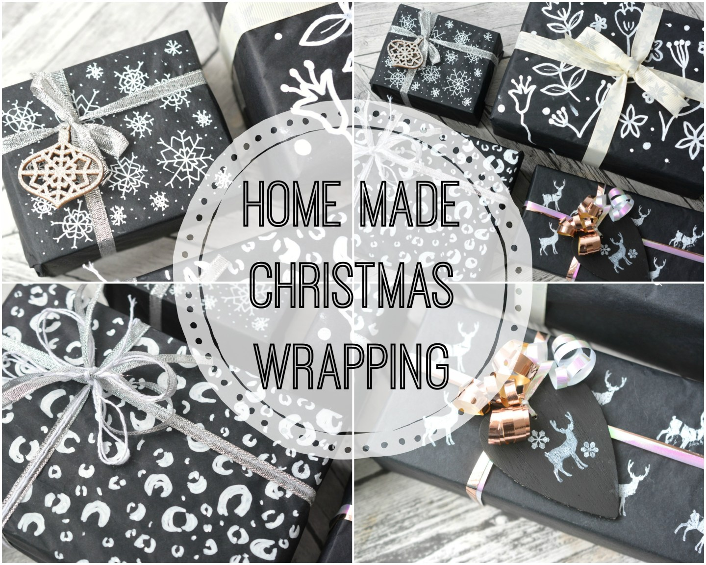 Home Made Black and White Christmas Wrapping DIY #Blogmas