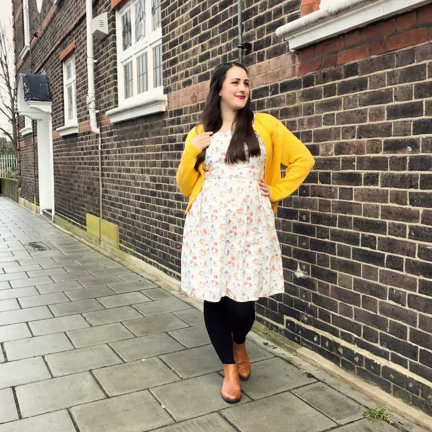 What I've Been Wearing - January 2019 | Cath Kidston Pets Party dress and vintage yellow cardigan | Vintage Frills