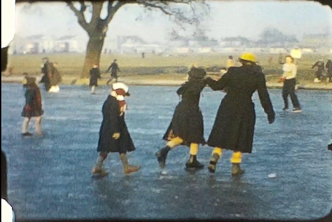 Ice skating in London in 1956