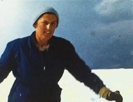 A picture of a woman Skiing at Igls in 1957