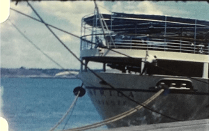 A picture of the stern of the Lloyd Triestino Africa from a vintage home movie of about 1960