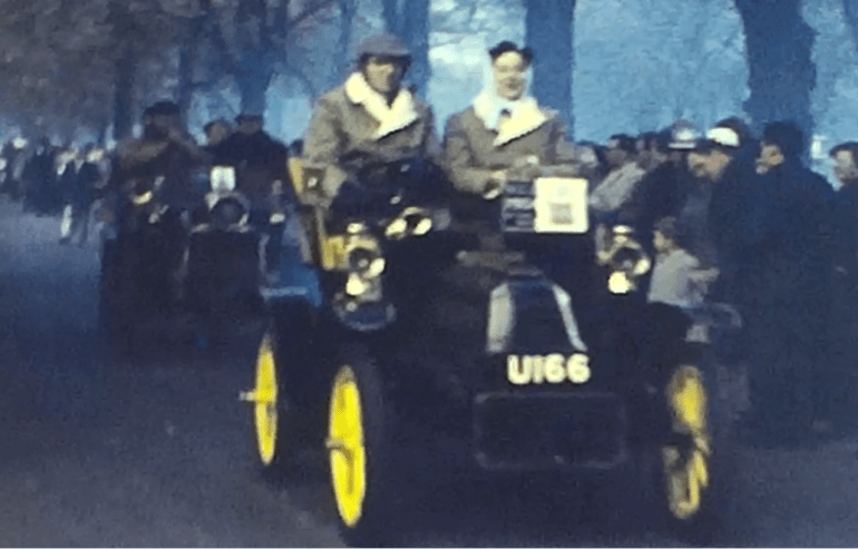 A Still image from a vintage home movie showing the London to Brighton car run in 1961