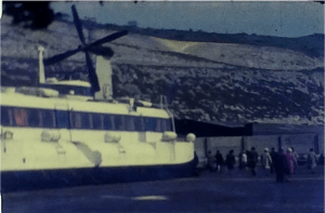 A still from a vintage home movie showing a hovercraft trip to france in 1973