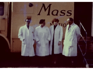 A Still image from a vintage home movie which shows a mobile X-Ray van in the town of St Andrews