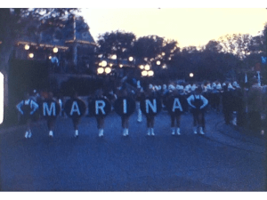 A Screen shot from a Super 8 Vintage Home Movie of a parade in the city of Marina in the USA in about 1975