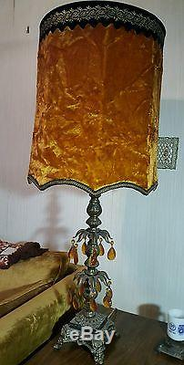 2 Vtg Mcm Hollywood Regency Crushed Velvet Lamp Shade Mid