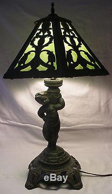 Antique Vintage Art Nouveau Stained Slag Glass Table Lamp Amp Shade Poul Hornison
