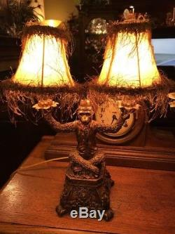 Bellhop Monkey Lamp With Double Lights And Shades