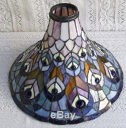 Vintage Tiffany Style Torchiere Stained Glass Lamp Shade 321
