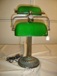 Vintage Double Bankers Lamp With Cased Green Shades. 9249