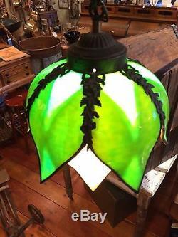 kitchen flush mount lighting john boos island vintage green & carmel tulip petal shaped stained glass ...