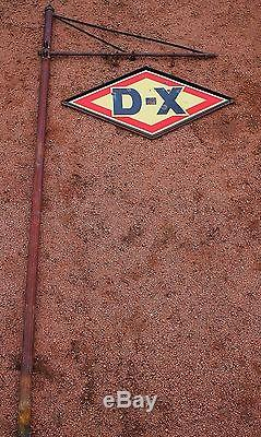 Vintage Early Dx Diamond Gas Station Fluted Pole