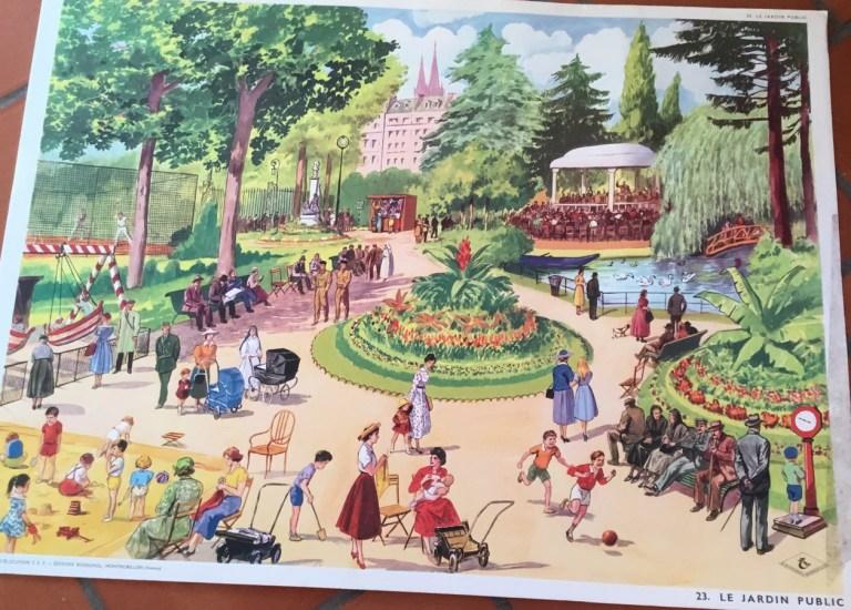 Affiche vintage des éditions Rossignol Montmorillon le jardin public
