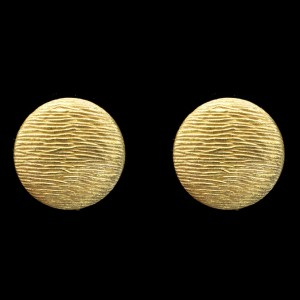 Miriam Haskell Russian Brushed Gold Button Earrings