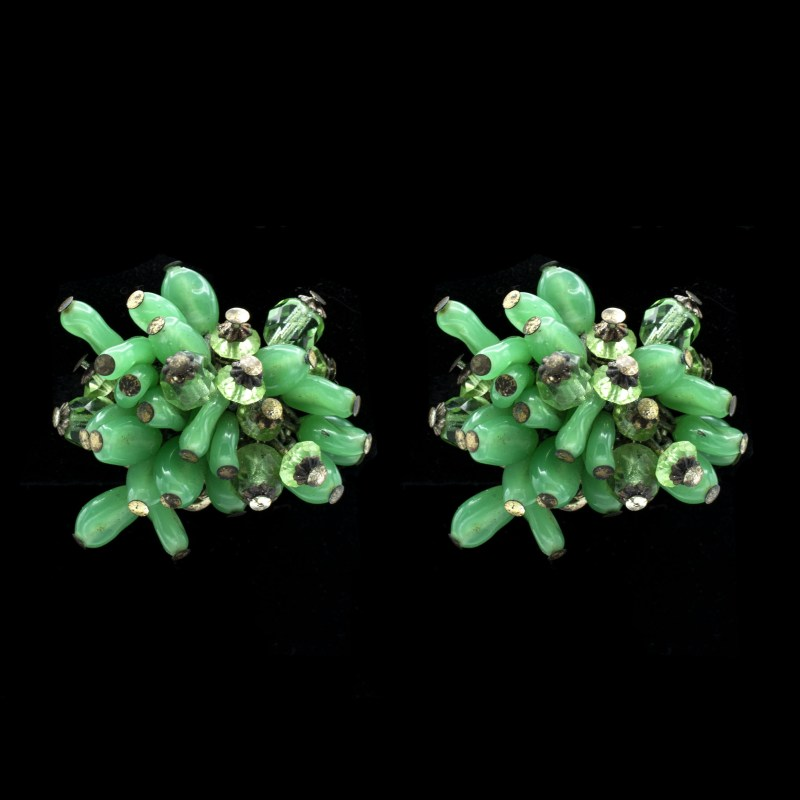 MIRIAM HASKELL Vintage Earrings Fern Green Art Glass Beads Silver Filigree
