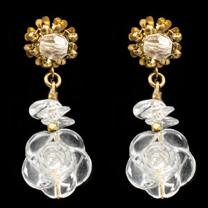 MIRIAM HASKELL Lucite Flower Dangle Earrings