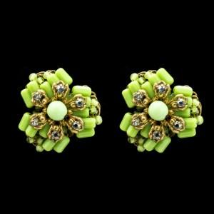 Miriam Haskell green glass earrings