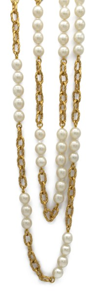 1990 Chanel Pearl and Gilt 60 inch necklace