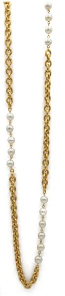 1990 51 inch gild and pearl chanel necklace