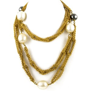 """27328 - Chanel 55"""" Double Strand Chain with Grey & White Pearls, 1990"""