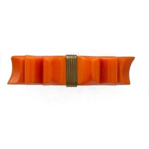 23594 - Orange Bakelite Bow Brooch