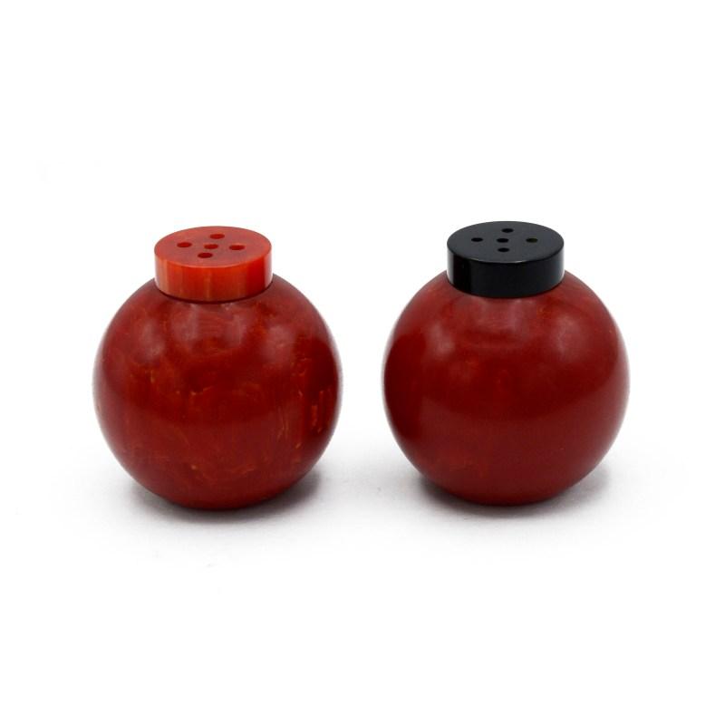 Red Bakelite Salt & Pepper Shakers. 1940s