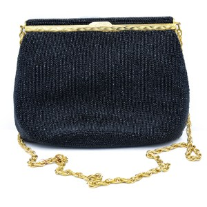 28663 - French Jet Beaded Evening Clutch, 1960