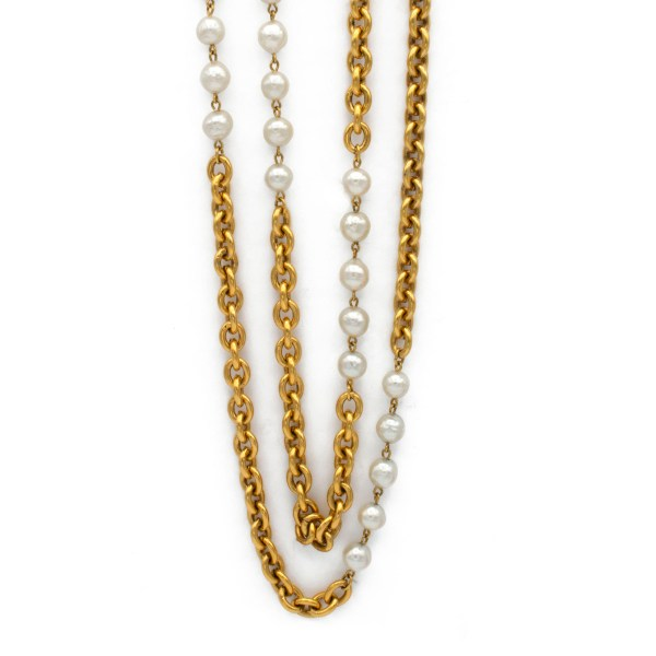 "Chanel 36"" Double Strand Chunky Gilt Chain With Baroque Pearls, 1990"