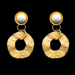 30180 - White Acrylic & Hammered Gold Donut Drop Earrings, 1980