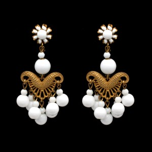 30181 - Miriam Haskell White Bead Chandelier Earrings, 1970