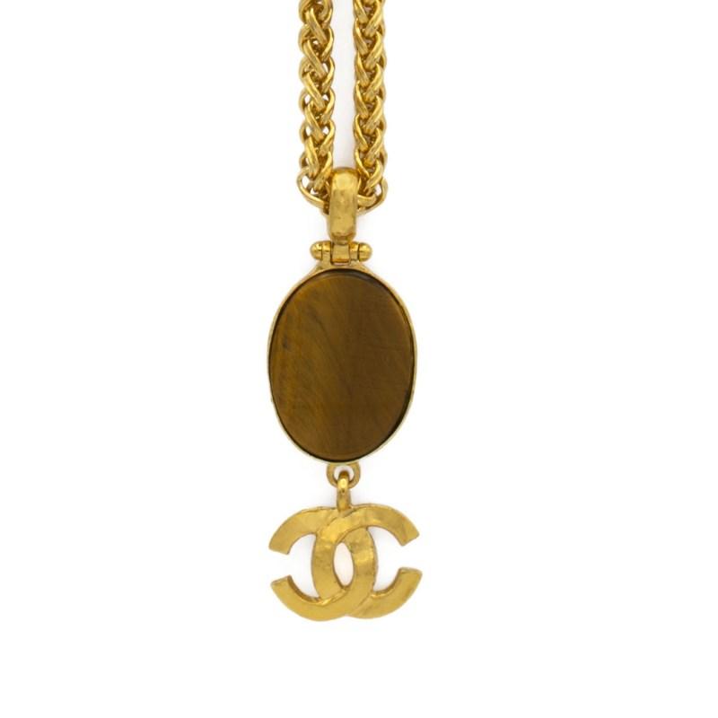 "30788 - Chanel 33"" Tiger Eye Cabochon & Logo Pendant Necklace, Autumn 1995"
