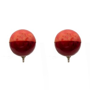 Pink & Red Marbled Bakelite Sphere Earrings