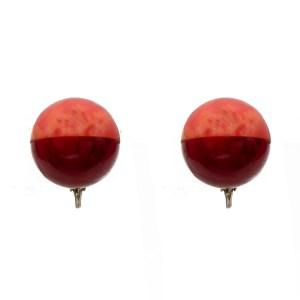 Pink & Red Marbled Bakelite Sphere Earrings