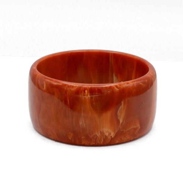 Red, Yellow, & Orange Marbled Bakelite Wide Bangle