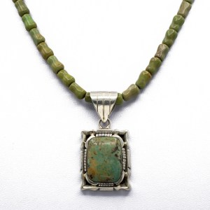32197 - Navajo Green Turquoise & Sterling Silver Pendant on Turquoise Bead Strand