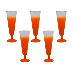 27042 2 - Blendo Orange Pilsner Glasses, Set of Five (5)