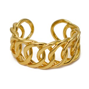 Chanel Gilt Rigid Chain Link Cuff, 1990