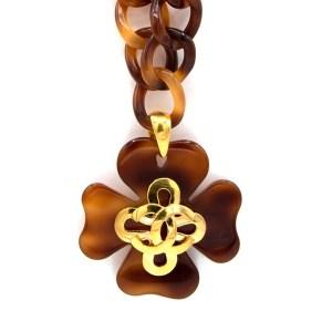 30171 2 - Chanel Acrylic Tortoiseshell Four Leaf Clover Necklace, Spring 1995