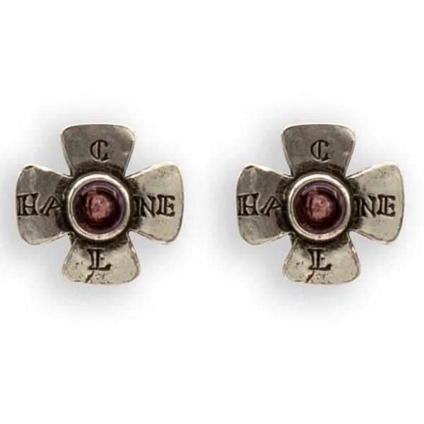 Chanel Silver Maltese Cross & Amethyst Gripoix Earrings, 1999