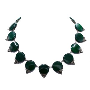 Art Deco Chrysoprase & Marcasite Necklace, 1925
