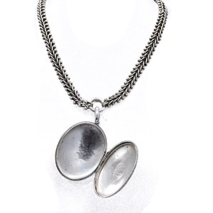 Victorian Sterling Necklace with Locket, 1880