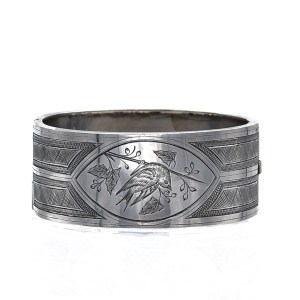 English Victorian Sterling Bracelet with Bird Engraving, 1880